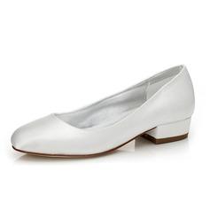 De mujer Satén Tacón ancho Cerrados Salón Zapatos Que Se Pueden Teñir