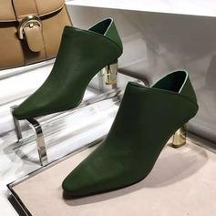 Kvinner Egte Lær Stor Hæl Lukket Tå Ankelstøvler sko