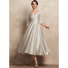 A-Line V-neck Tea-Length Satin Cocktail Dress With Ruffle (016236989)