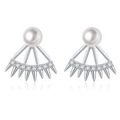 Romantic Copper/Zircon/Imitation Pearls/S925 Sliver Ladies' Earrings