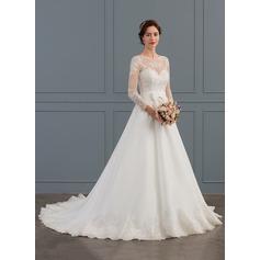 Balklänning Rund-urringning Court släp Organzapåse Bröllopsklänning med Rosett/-er
