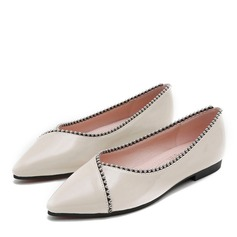 Women's Leatherette Flat Heel Flats Closed Toe With Beading shoes
