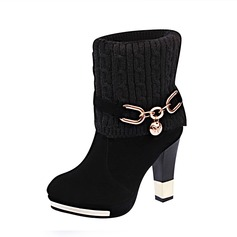 Women's Suede Fabric Stiletto Heel Pumps Closed Toe Boots Mid-Calf Boots With Chain shoes
