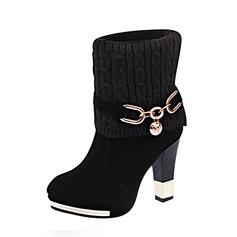 Vrouwen Suede Stof Stiletto Heel Pumps Closed Toe Laarzen Half-Kuit Laarzen met Keten schoenen