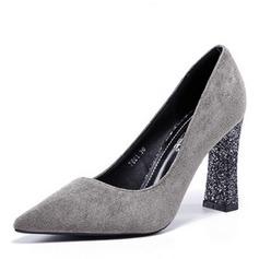 Donna Camoscio Tacco spesso Stiletto Punta chiusa scarpe