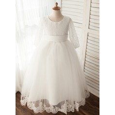 Ball Gown Tea-length Flower Girl Dress - Tulle Long Sleeves Scoop Neck With Appliques