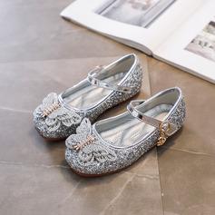 Pigens Round Toe Lukket Tå Leatherette lav Hæl Fladsko Sneakers & Atletik Flower Girl Shoes med Spænde Mousserende Glitter Blomst