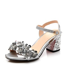 Vrouwen Patent Leather Echt leer Chunky Heel Sandalen Beach Wedding Shoes met Gesp Strass