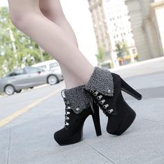 Mulheres Camurça Salto agulha Bombas Plataforma Bota no tornozelo com Aplicação de renda sapatos