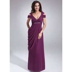 Sheath/Column V-neck Floor-Length Chiffon Mother of the Bride Dress With Ruffle Beading