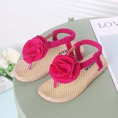 Girl's Peep Toe imitatieleer Sandalen Flats met Velcro Bloem