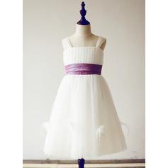 Forme Princesse Longueur genou Robes à Fleurs pour Filles - Tulle Sans manches Bretelles avec Ceintures