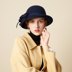 Ladies' Beautiful/Glamourous/Charming Wool With Feather/Tulle Bowler/Cloche Hats