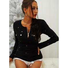 Pailletten Einfarbig Rundhalsausschnitt Lange Ärmel Lässige Kleidung Blusen (1003254052)