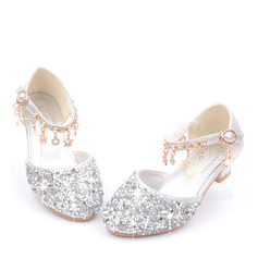 Girl's Round Toe Closed Toe Leatherette Flower Girl Shoes With Crystal