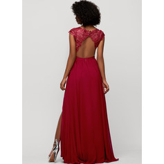A-Line V-neck Floor-Length Chiffon Evening Dress With Sequins Split Front