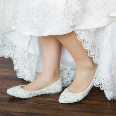 Kvinner Lær Flat Hæl Lukket Tå Flate sko med Imitert Perle