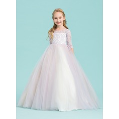 Ball Gown Floor-length Flower Girl Dress - Tulle/Lace 1/2 Sleeves Scoop Neck