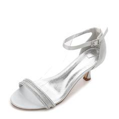 Женщины шелка как атласное Высокий тонкий каблук Открытый мыс На каблуках Сандалии с пряжка горный хрусталь