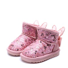 девичий Закрытый мыс Зимние сапоги дерматин Плоский каблук Ботинки с бантом блестками Застежка-молния