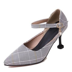 Women's Fabric Cone Heel Pumps Closed Toe With Buckle shoes
