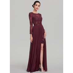 A-Line/Princess Scoop Neck Floor-Length Chiffon Evening Dress With Beading Sequins (017137351)