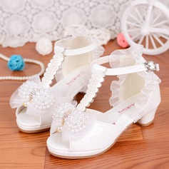 Girl's Leatherette Low Heel Peep Toe Sandals With Beading Stitching Lace