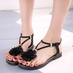 Женщины кожа Плоский каблук Сандалии На плокой подошве Вьетнамки с Цветок обувь