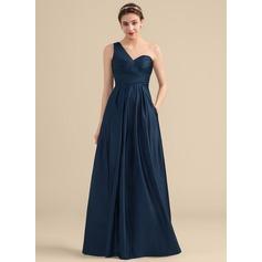 A-Line/Princess One-Shoulder Floor-Length Satin Bridesmaid Dress With Ruffle Pockets