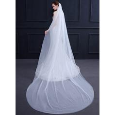 Dos capas Corte de borde Velos de novia capilla