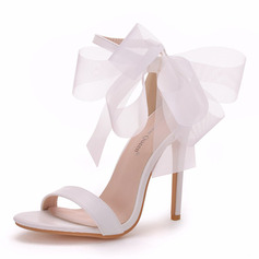 Women's Leatherette Stiletto Heel Peep Toe Sandals With Ribbon Tie