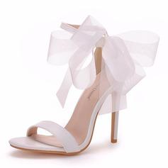Vrouwen Kunstleer Stiletto Heel Peep-toe Sandalen met Ribbon Tie
