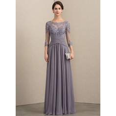 A-Line Scoop Neck Floor-Length Chiffon Lace Mother of the Bride Dress With Ruffle (008154438)