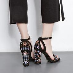 Femmes PU Talon bottier Sandales Escarpins À bout ouvert avec Talon de bijoux chaussures