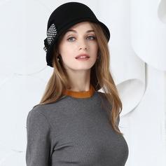 Damer' Mode Ull/Tyg med Bowknot Diskett Hat
