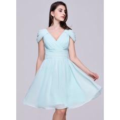Vestidos princesa/ Formato A Decote V Coquetel De chiffon Vestido de boas vindas com Pregueado