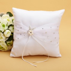 Elegant Ring Pillow in Satin With Ribbons/Rhinestones/Faux Pearl