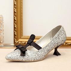Frauen Funkelnde Glitzer Spule Absatz Absatzschuhe mit Bowknot Zuschnüren Schuhe