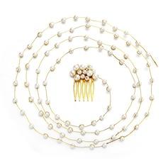Abbigliamento donna Bella Di faux perla Pettine & clip di capelli con Perla Veneziano (Venduto in un unico pezzo)