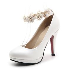 Mulheres Couro Salto agulha Bombas Plataforma Fechados com Aplicação sapatos