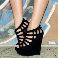 Femmes Suède Talon compensé Sandales Compensée À bout ouvert avec Zip Ouvertes chaussures