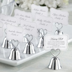"Heart Topped ""Kissing Bell"" Metal Place Card Holders (Set of 4)"