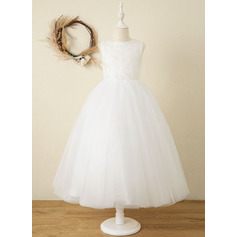 Corte A Longuete Vestidos de Menina das Flores - Cetim/Tule/Renda Sem magas Decote redondo com Curvado