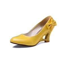 De mujer Piel brillante Tacón ancho Salón Cerrados con Bowknot zapatos