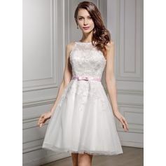 A-Linje Illusion Knälång Spets Bröllopsklänning med Skärpband Rosett/-er