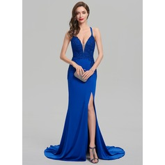 Sheath/Column V-neck Sweep Train Jersey Prom Dress With Split Front