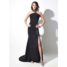 Trumpet/Mermaid Halter Sweep Train Satin Chiffon Prom Dress With Beading Split Front