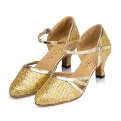 Femmes Pailletes scintillantes Talons Sandales Salle de bal avec Ouvertes Chaussures de danse