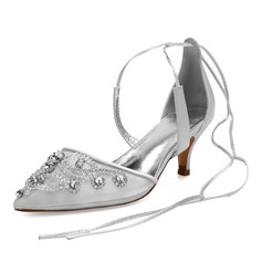 Women's Lace Silk Like Satin Mesh Kitten Heel Flats Sandals With Rhinestone Hollow-out Lace-up