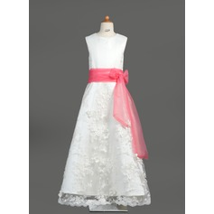 A-Line/Princess Floor-length Flower Girl Dress - Organza/Satin/Lace Sleeveless Scoop Neck With Sash/Bow(s)
